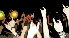 Rock concert. With a lot of people stock illustration