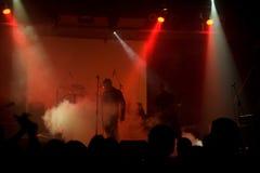 Rock concert, blurred unrecognizable musicians Stock Photo