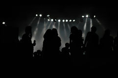 Rock concert crowd silhouettes Royalty Free Stock Photos
