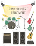Rock Concert Equipment. Set of modern flat vector illustration of musical instruments and sound equipment for rock concert, festival, club party Royalty Free Stock Photos