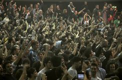 Rock concert fans in Italy Stock Photo