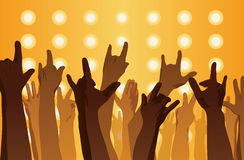 Rock concert. Hands up. Sign of the horns. Flat style Royalty Free Stock Images