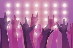 Rock concert. Hands up. Sign of the horns. Flat style Stock Images