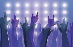 Rock concert. Hands up. Sign of the horns. Flat style Stock Image