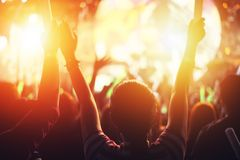 Rock concert party event. Music festival and Lighting stage concept. Youth and Fan club concept. People and Lifestyle theme. Ora. Nge fire theme royalty free stock photos