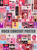 Rock Concert Poster. Design. Music festival vector collage Royalty Free Stock Photo