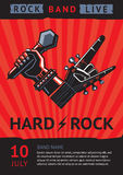 Rock concert poster. Hard rock. Design template for a rock concert poster with a microphone and guitar Stock Images