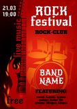 Rock Concert Poster. Rock music group concert or festival poster with burning guitar and drums vector illustration Royalty Free Stock Photography