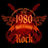 Rock concert poster - 1980s. Vector illustration Royalty Free Stock Photos