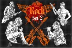 Rock concert poster - 1980s. Vector illustration. Stock Photo