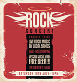 Rock concert retro poster design. Template on old paper texture royalty free illustration
