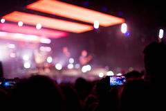 Rock concert with smartphone Royalty Free Stock Photo