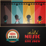 Rock concert stage. Rock band on stage, retro music poster Royalty Free Stock Photography