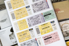 Rock Concert Tickets. SOUTH AUSTRALIA, AUSTRALIA - AUGUST 8, 2014 - Concert tickets from world famous bands including Radiohead with music CD's Stock Image