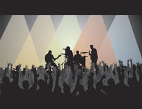 Rock Concert V. Rock concert silhouette with band, crowd and lights. Perfect for a background or adding text Stock Images