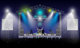Rock Concert. Vector. Rock musicians silhouettes: Rhythm and solo guitar, bass guitarist, drummer and girl at keyboards. Open air. Excited crowd under stage stock illustration