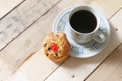 Rock cookie and black coffee Stock Photo