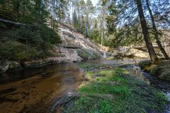 Rock covered river bed in forest with low water level. And tree roots on the ground. shores of sandstone and rocks royalty free stock image
