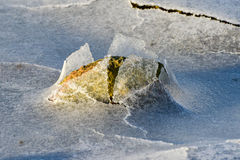 Rock Cracking Ice, Lofoten Islands, Norway Stock Photo