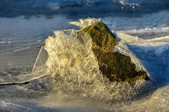 Rock Cracking Ice, Lofoten Islands, Norway Royalty Free Stock Photo