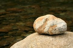 Rock by Creek Royalty Free Stock Images