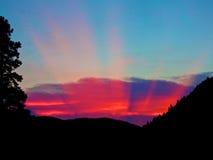 Rock Creek Sapphire Mountains sunset rays Stock Photo
