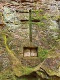 Rock cross and Bible royalty free stock photos