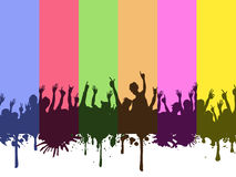 Rock crowds on rainbow background Stock Images