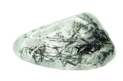 Rock crystal quartz geode with black tourmaline geological cryst Stock Photography
