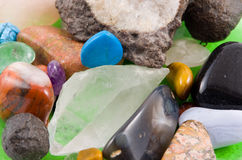 Rock crystals. Heap of different rock crystals  (macro, close-up Stock Photos