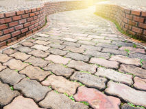 Rock and curve pathway Royalty Free Stock Photo