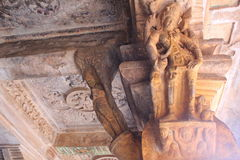 Rock cut Art on the pillars of Badami Cave temples, India Royalty Free Stock Photography