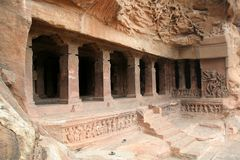 Rock-cut Cave. Monolithic first cave temple, dedicated to Lord Shiva, at Badami in Karnataka, India, Asia Stock Image