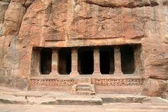 Rock-cut Cave. Front view of fourth cave at Badami, Karnataka, India, Asia Stock Photography