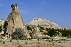 Rock-cut churches in Cappadocia stock photo