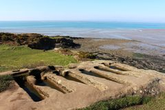 Rock cut graves on headland at Heysham Lancashire Royalty Free Stock Photo