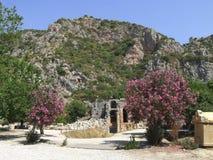 Rock-cut lycian tombs, Demre (Myra), Turkey. Rock-cut lycian tombs in Demre (Myra), Turkey Stock Image