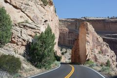 Rock Cut for Road in Colorado National Monument stock photo