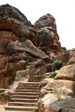 Rock-cut Steps. Steps for cave temples cut in rocks at Badami, Karnataka, India, Asia Stock Images