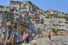 Rock-cut tombs in Myra an ancient town in Lycia Turkey. Royalty Free Stock Photography