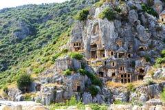 The rock-cut tombs in Myra Stock Photos