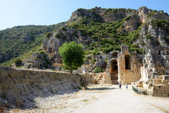The rock-cut tombs in Myra Royalty Free Stock Photos