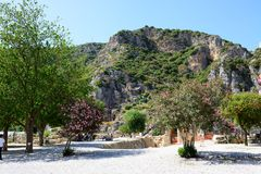 The rock-cut tombs in Myra and Bougainvillea tree Royalty Free Stock Images