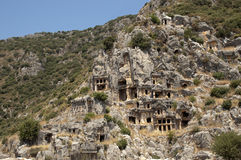 Rock-cut tombs in Myra, Demre, Turkey, Scene 19. A series of photos. Rock-cut tombs in Myra, Lycian tombs, near the city of Demre in modern Turkey royalty free stock photos
