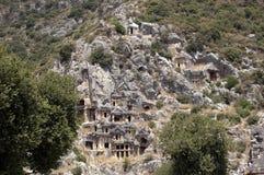 Rock-cut tombs in Myra, Demre, Turkey, Scene 2 Royalty Free Stock Photos