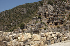 Rock-cut tombs in Myra, Demre, Turkey, Scene 17. A series of photos. Rock-cut tombs in Myra, Lycian tombs, near the city of Demre in modern Turkey royalty free stock images