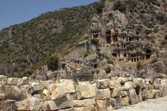 Rock-cut tombs in Myra, Demre, Turkey, Scene 17 Royalty Free Stock Images