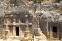 Rock-cut tombs in Myra, Demre, Turkey, Scene 8. A series of photos. Rock-cut tombs in Myra, Lycian tombs, near the city of Demre in modern Turkey Stock Photo