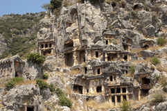 Rock-cut tombs in Myra, Demre, Turkey, Scene 5. A series of photos. Rock-cut tombs in Myra, Lycian tombs, near the city of Demre in modern Turkey stock images