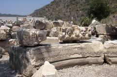 Rock-cut tombs in Myra, Demre, Turkey, Scene 4 Royalty Free Stock Photos